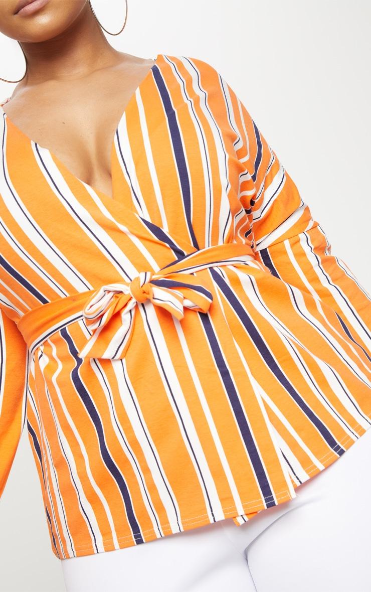 Plus Orange Striped Jersey Tie Waist Blouse 5