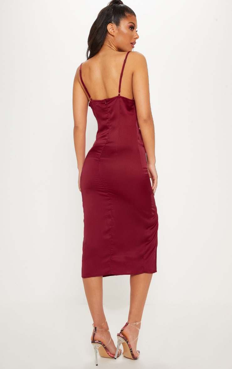 Burgundy Strappy Satin Cowl Midi Dress 2