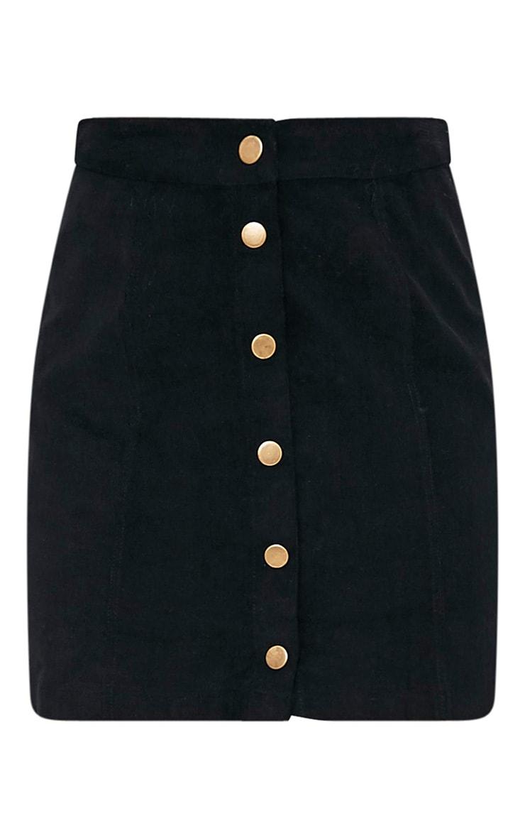 Cammie Black Cord Mini Skirt 3