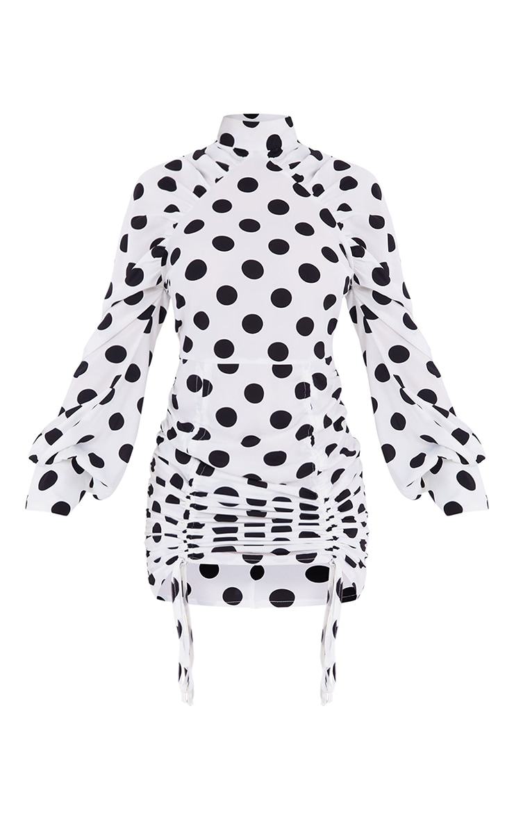 White Polka Dot Double Ruched High Neck Bodycon Dress 5