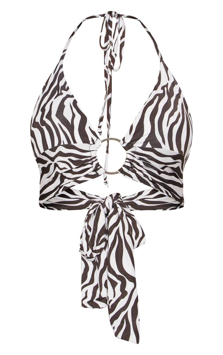Mono Zebra Plunge Ring Detail Bralet 3