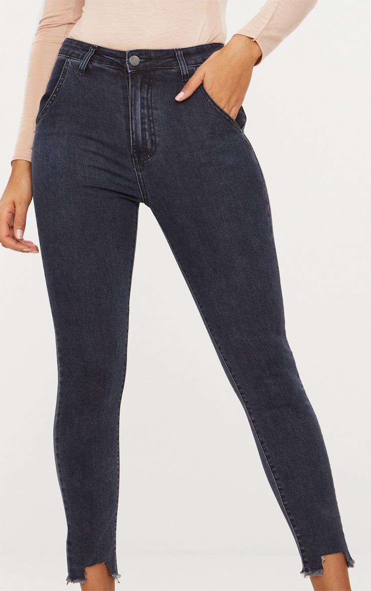 Washed Indigo Diagonal Pocket Cut Hem Skinny Jean 5
