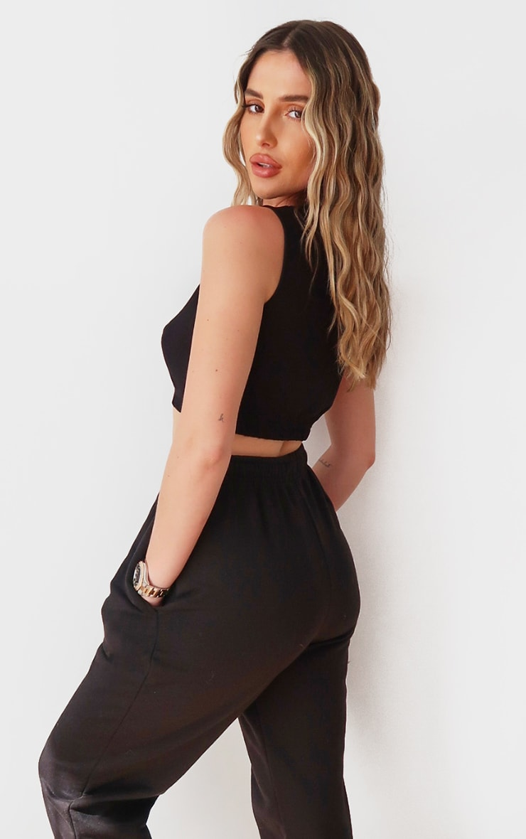 PRETTYLITTLETHING Black Sleeveless Elastic Hem Crop Top 2