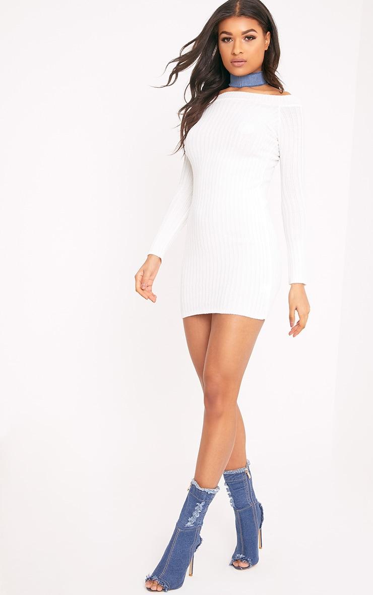 Julia Cream Knit Bardot Mini Jumper Dress 4