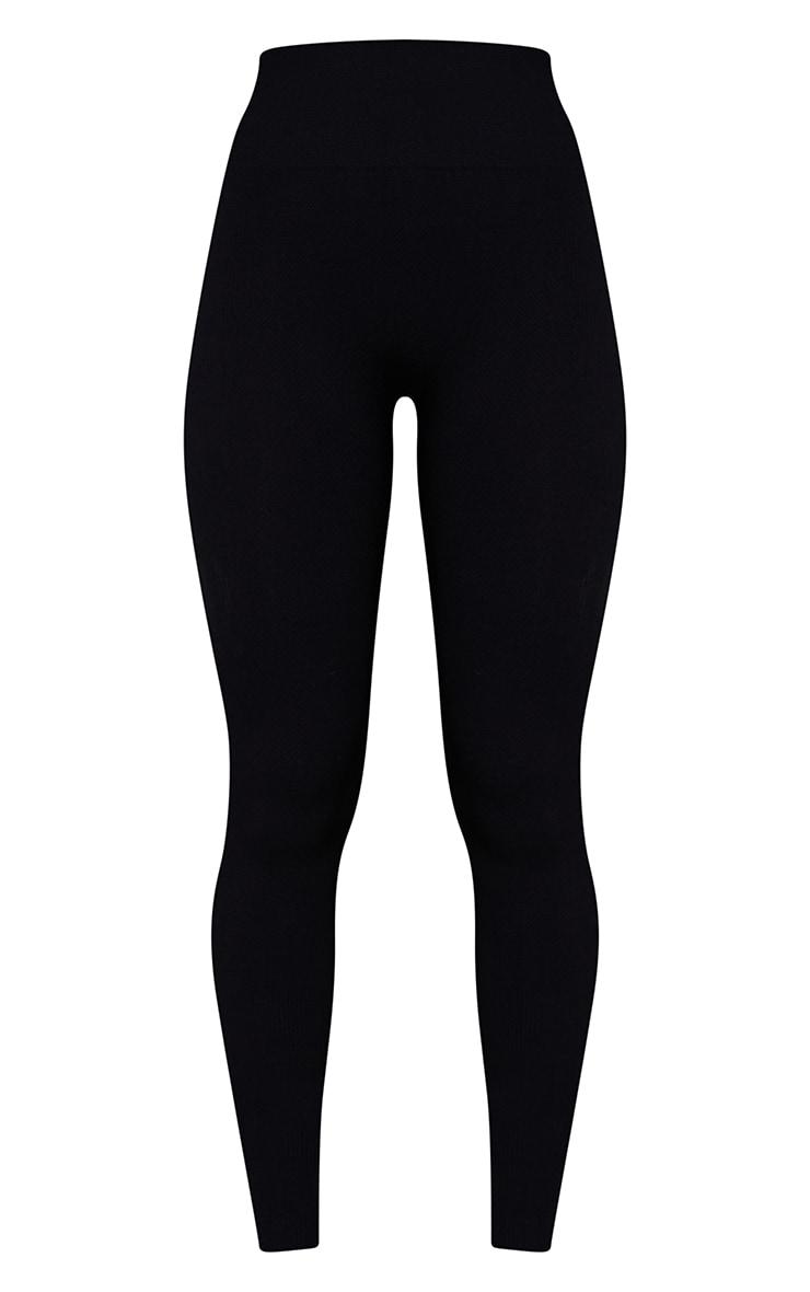 Black Textured Seamless High Waist Gym Leggings 5