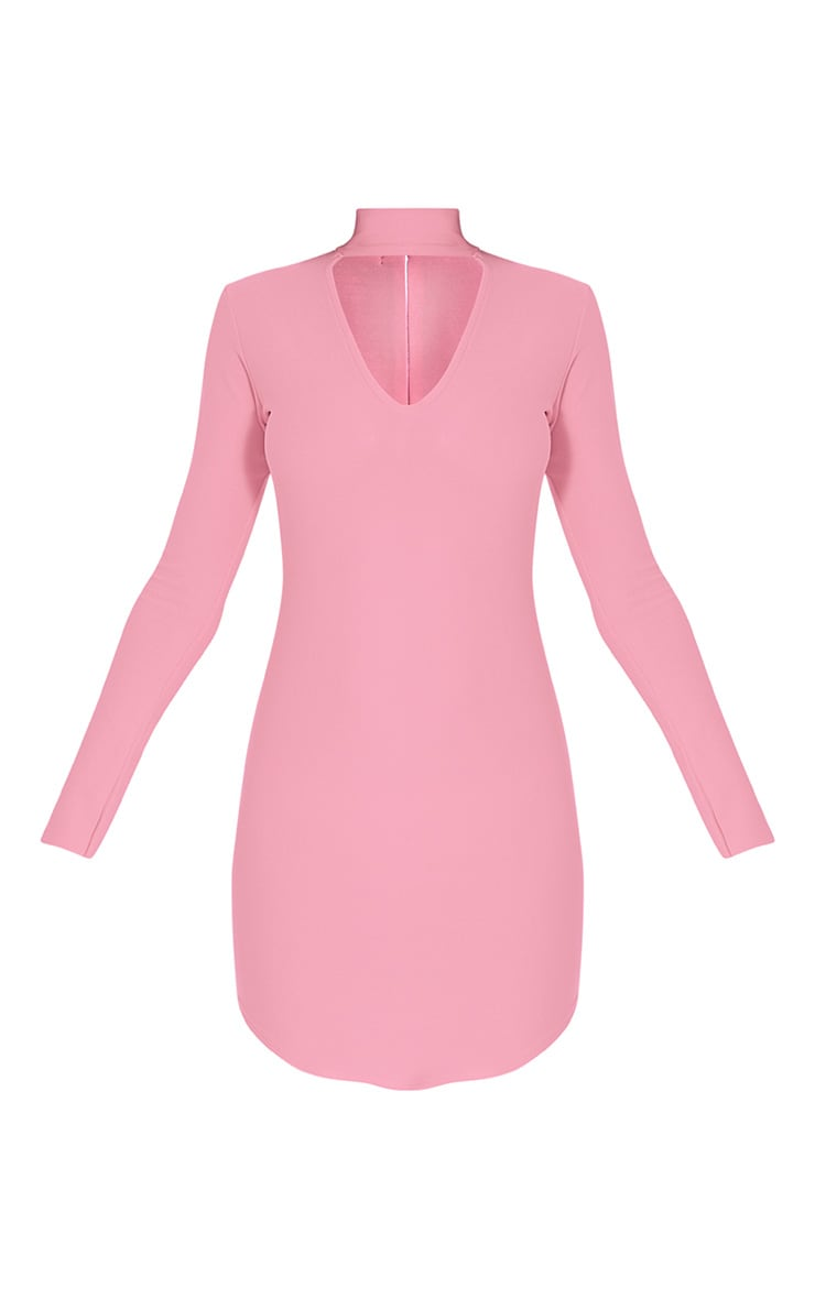 Arianna Bubblegum Pink Crepe Choker Detail Bodycon Dress 2