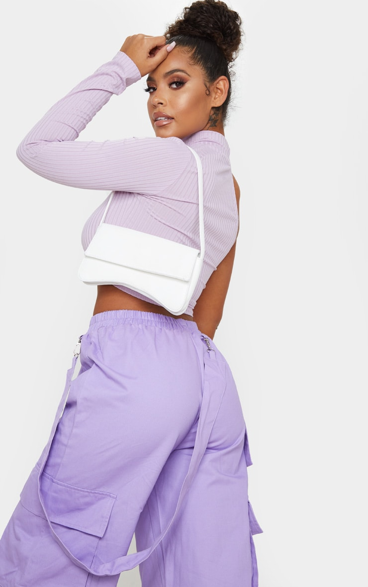 Lilac Cut Out One Sleeve Ribbed Crop Top 2