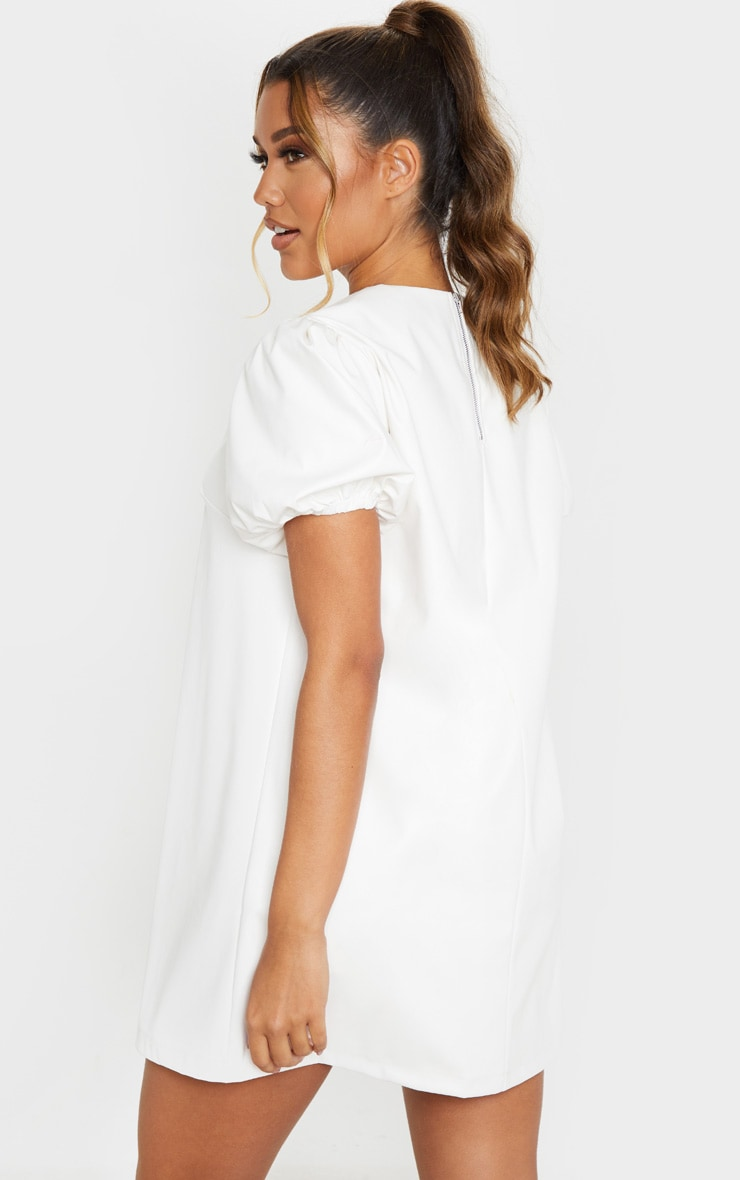 White Faux Leather Puff Sleeve Shift Dress  2