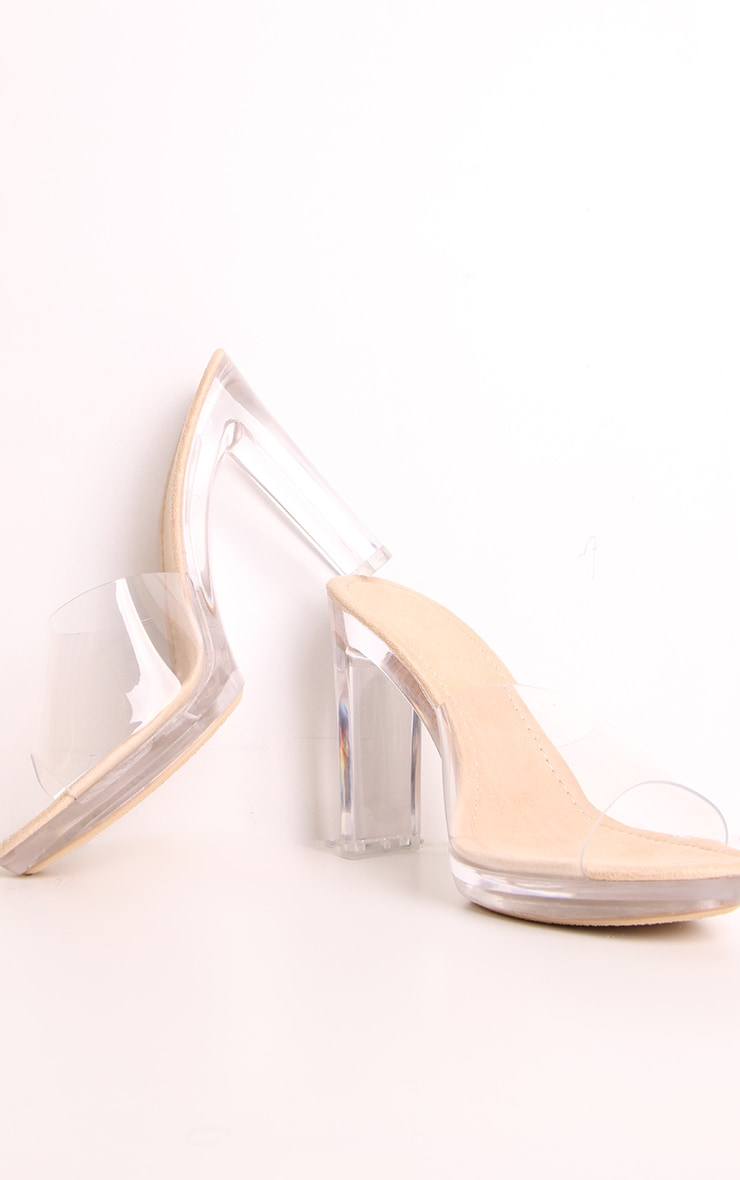 Nude Clear Heel Mules 2
