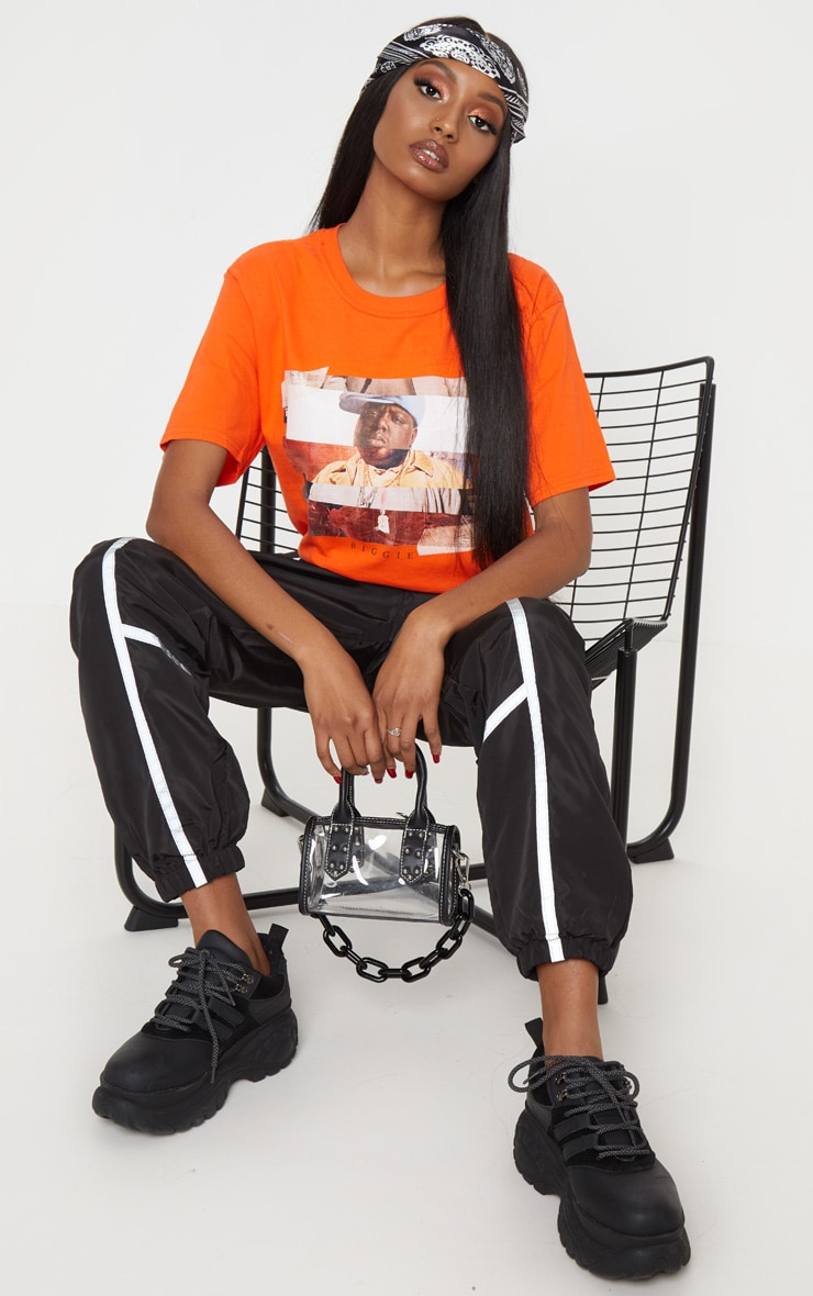 Orange Biggie Print Oversized T Shirt 5