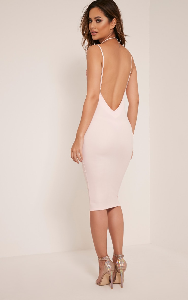 Ada Nude V Back Crepe Midi Dress 1