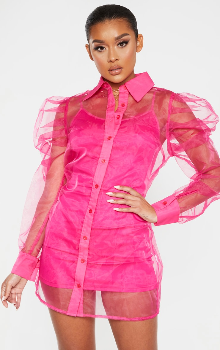 Hot Pink Puff Shoulder Organza Shirt Dress nMake a bright and bold statement in this statement dress doll Featuring a hot pink organza fabric with puff shoulders button fastenings and an underlayer strappy dress We love this styled with clear heels and a mini pink bag nLength approx 84cm 33 Based on a sample size UK 8 nModel wears size UK 8 EU 36 AUS 8 US 4 nModel Height n5ft 8 5