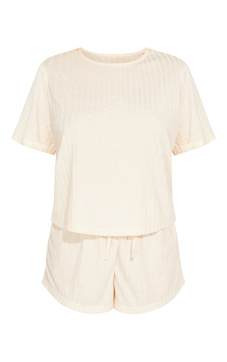 Cream Short Sleeve Top And Shorts 5