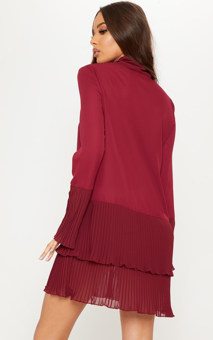 Burgundy Neck Tie Double Frill Pleated Layer Hem Shift Dress 2