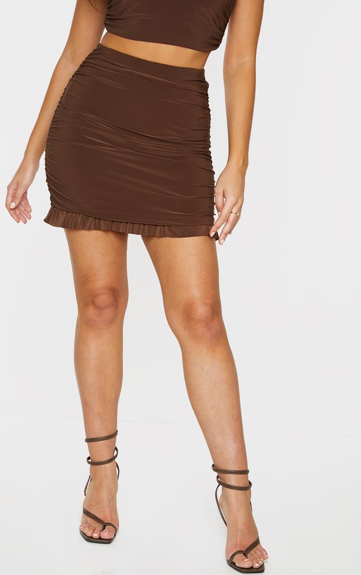 Chocolate Brown Slinky Ruched Side Frill Panel Hem Mini Skirt 2