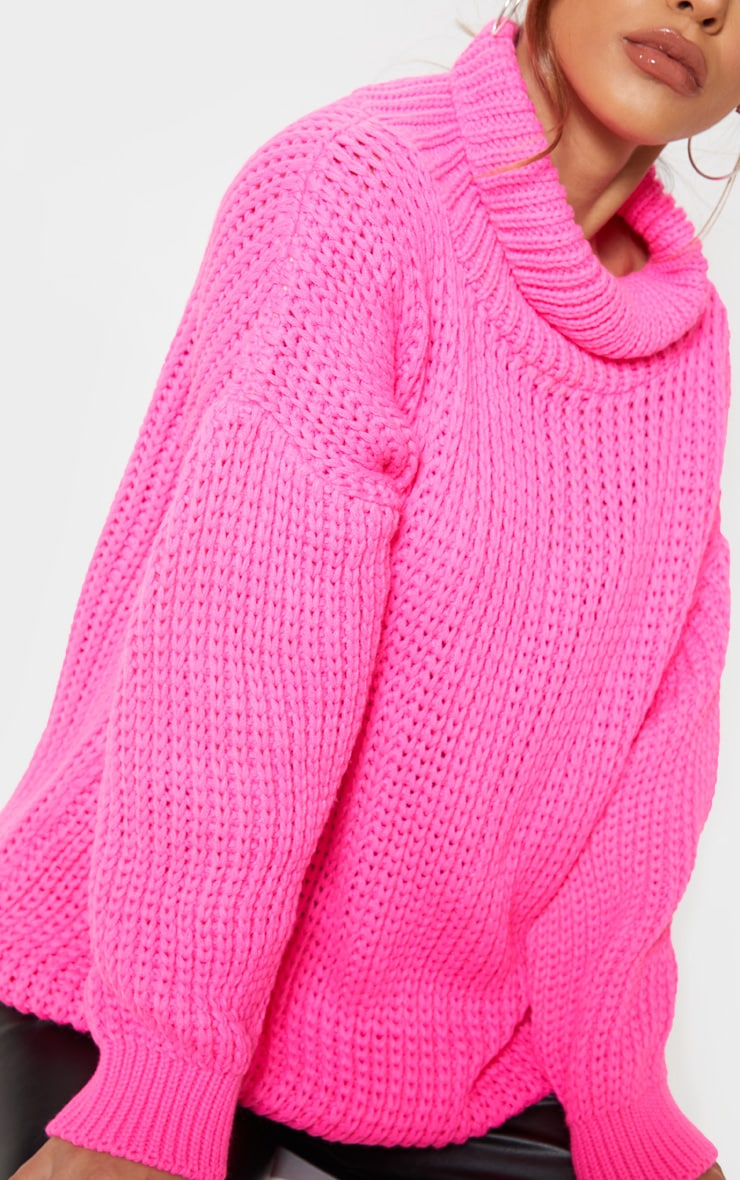 Petite  Hot Pink Roll Neck Oversized Chunky Knit Jumper 5