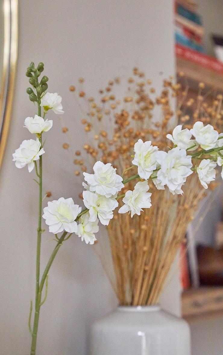 White Silk Double Stem Artificial Flower 3