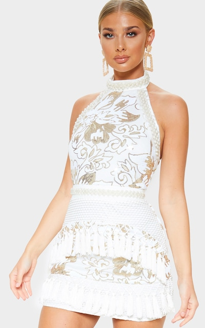 cbcbea9954 Charlyia White Premium Halterneck Sequin Tassel Bodycon Dress