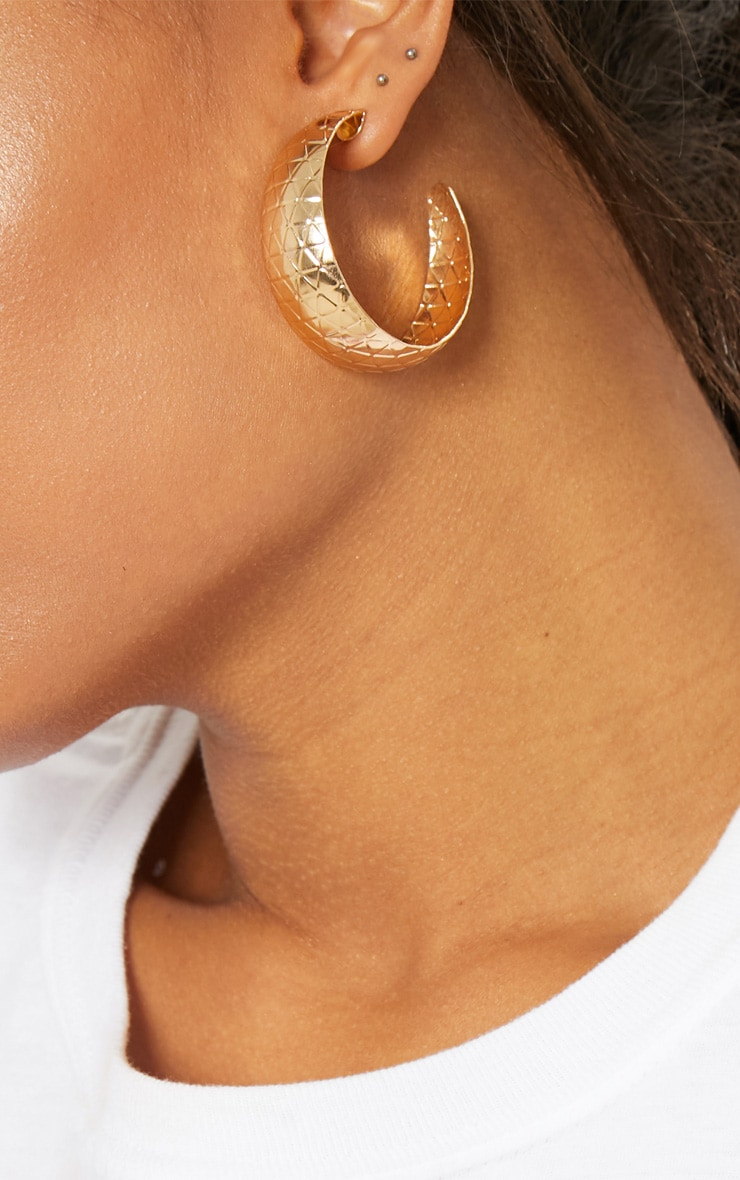 Gold Textured Hooped Earrings 1