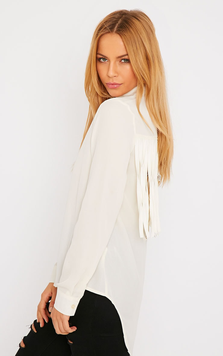Anoki Cream Fringe Back Chiffon Shirt 1