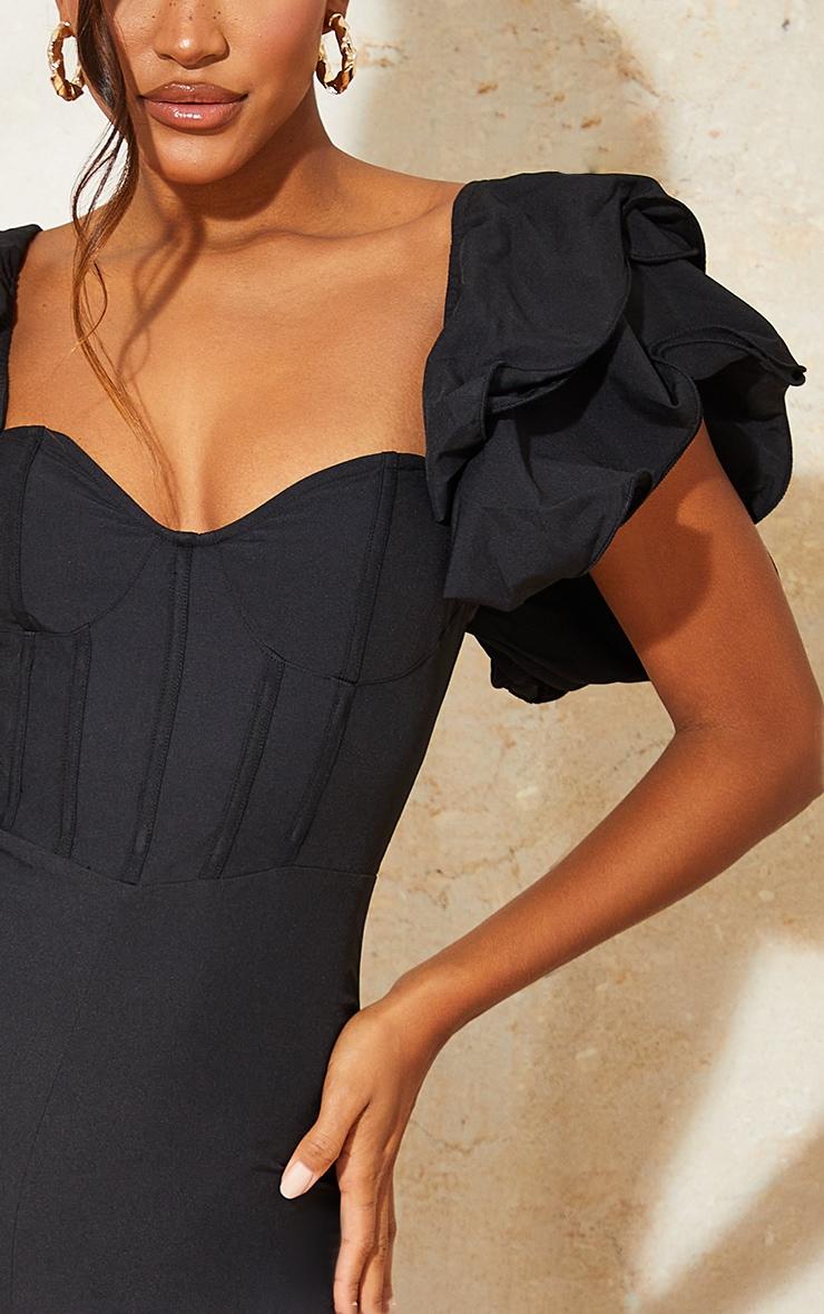Black Lace Back Frill Sleeve Jumpsuit 4