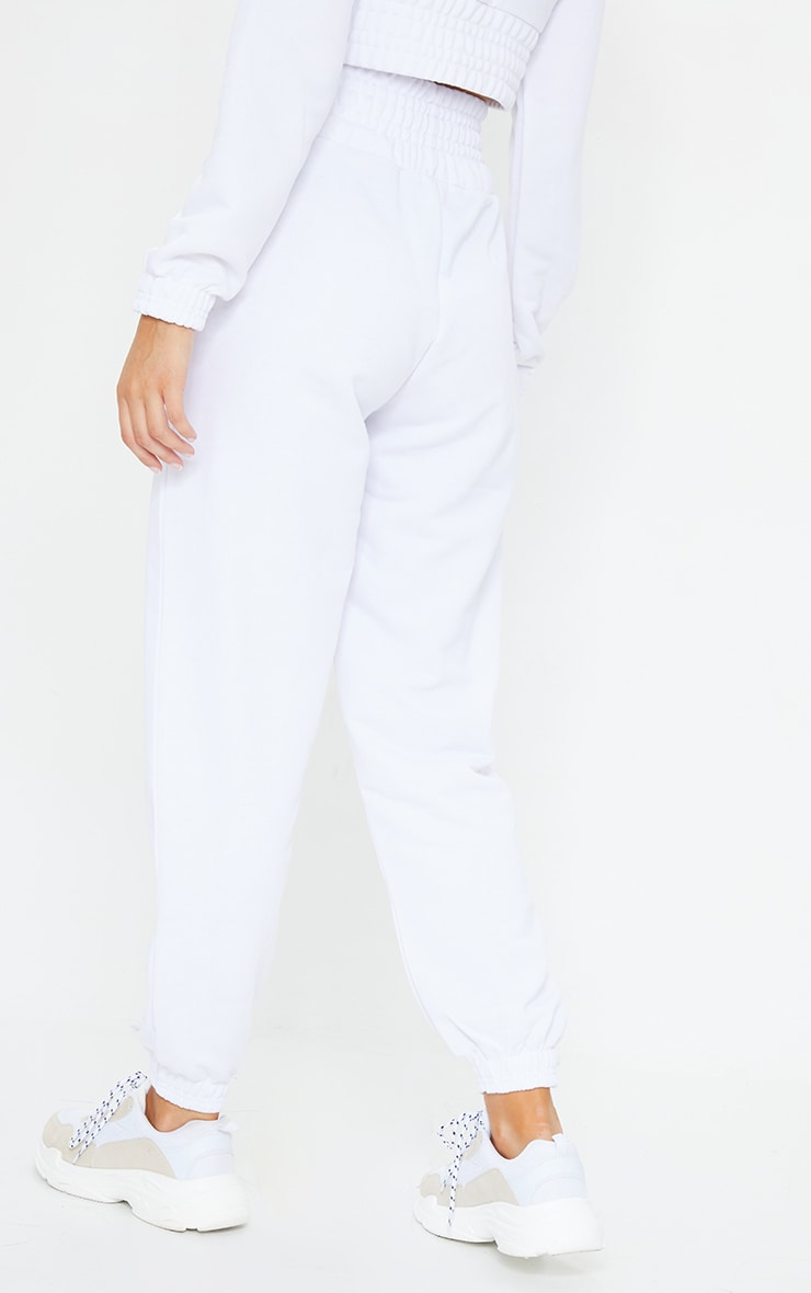 White Shirred Waist Panel Joggers 3