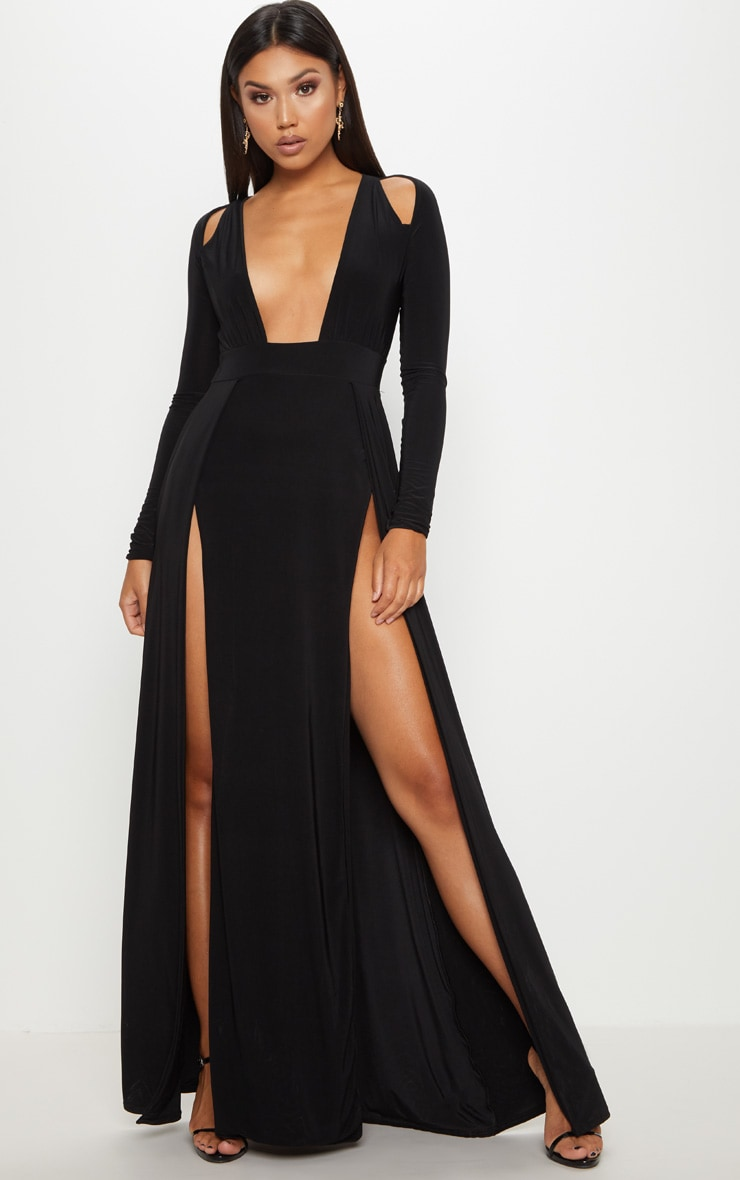 Black Plunge Extreme Split Leg Maxi Dress 1