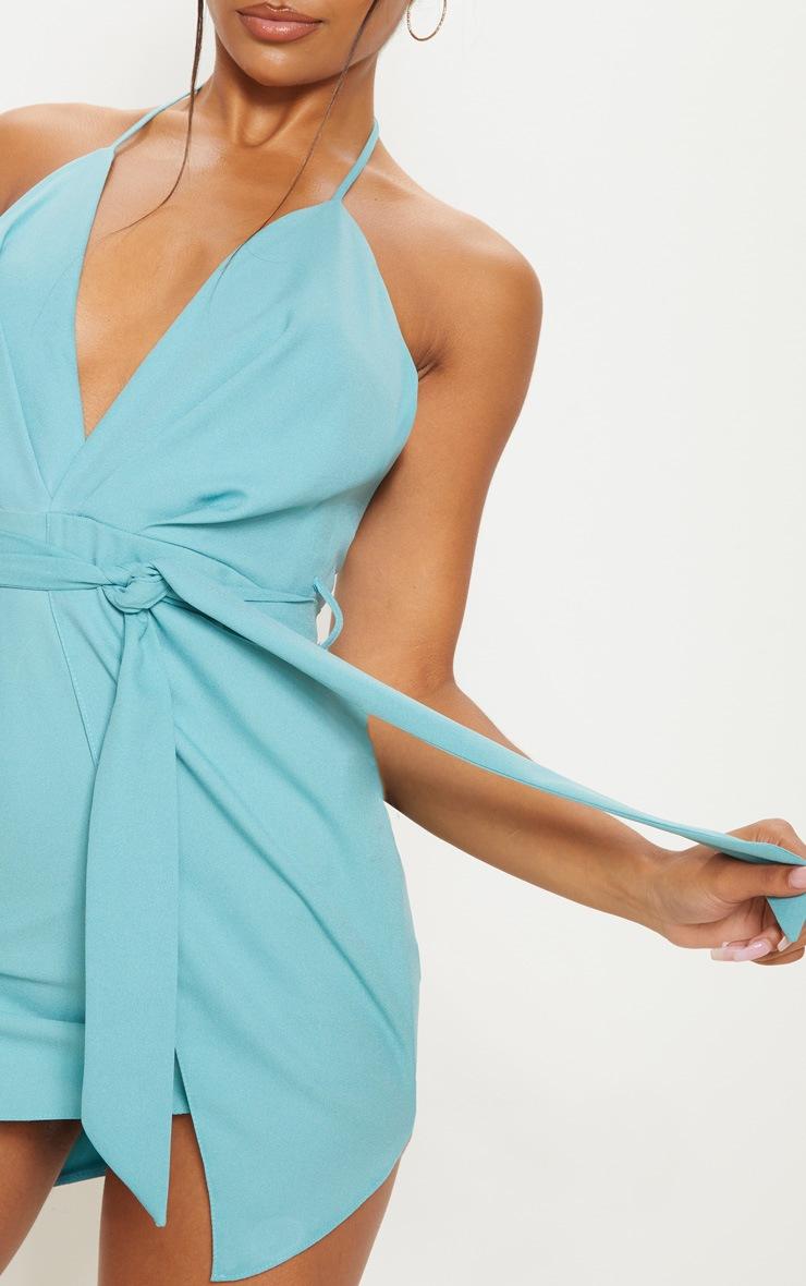 Dusty Turquoise Halterneck Wrap Bodycon Dress 5