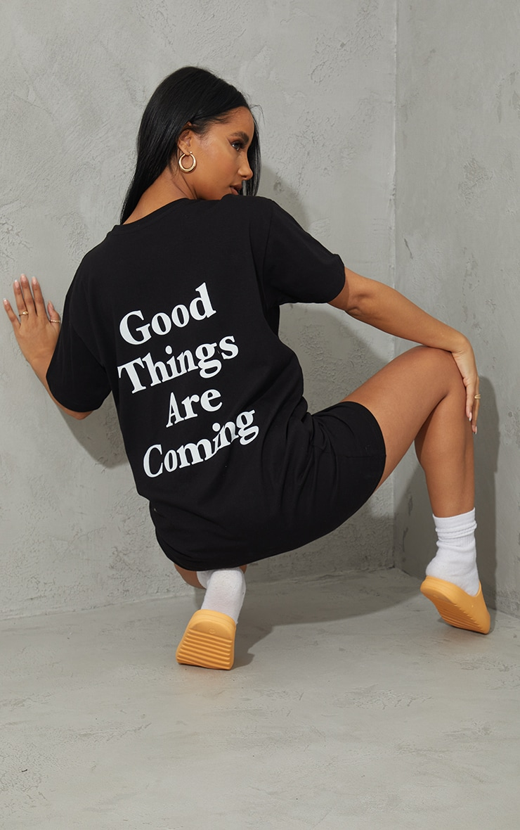 Black Good Times Are Coming Slogan T Shirt Dress 1