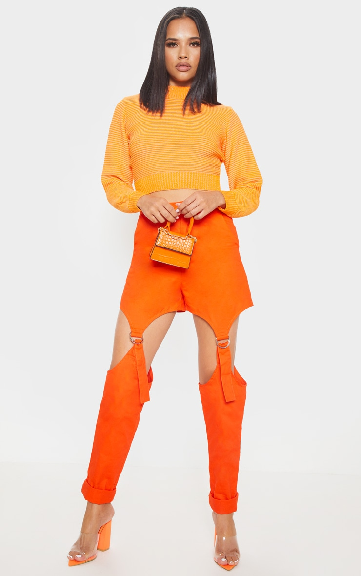 Orange Ribbed Cropped Knitted Jumper  4