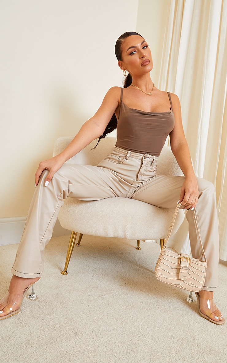 Chocolate Soft Touch Cowl Neck Bodysuit 3