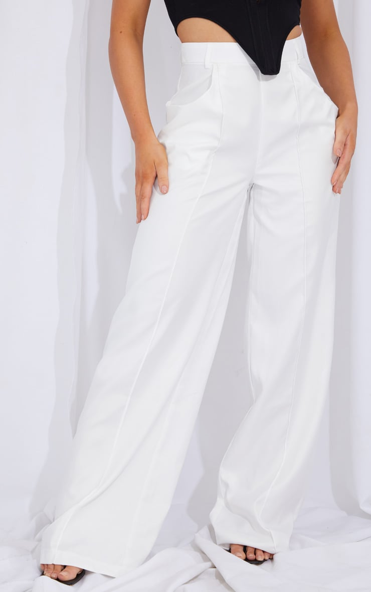 Cream Seam Detail Wide Leg Pants 2