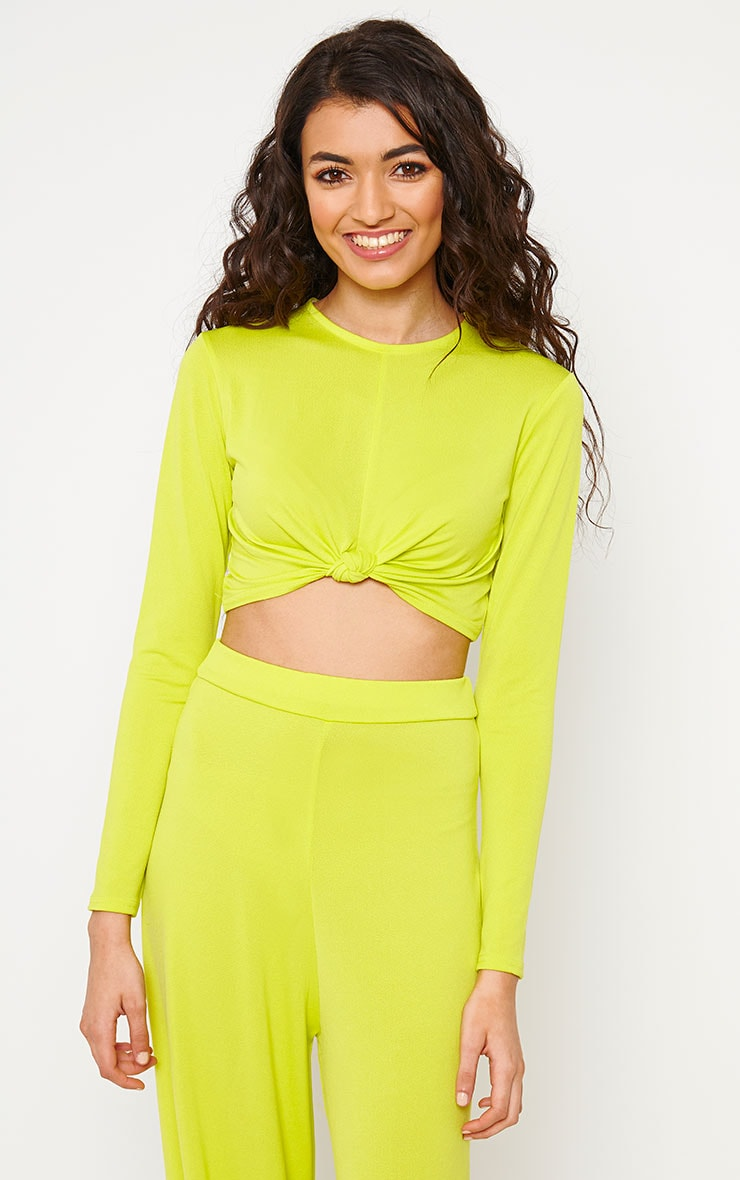 Zafia Lime Slinky Knot Front Crop Top 4