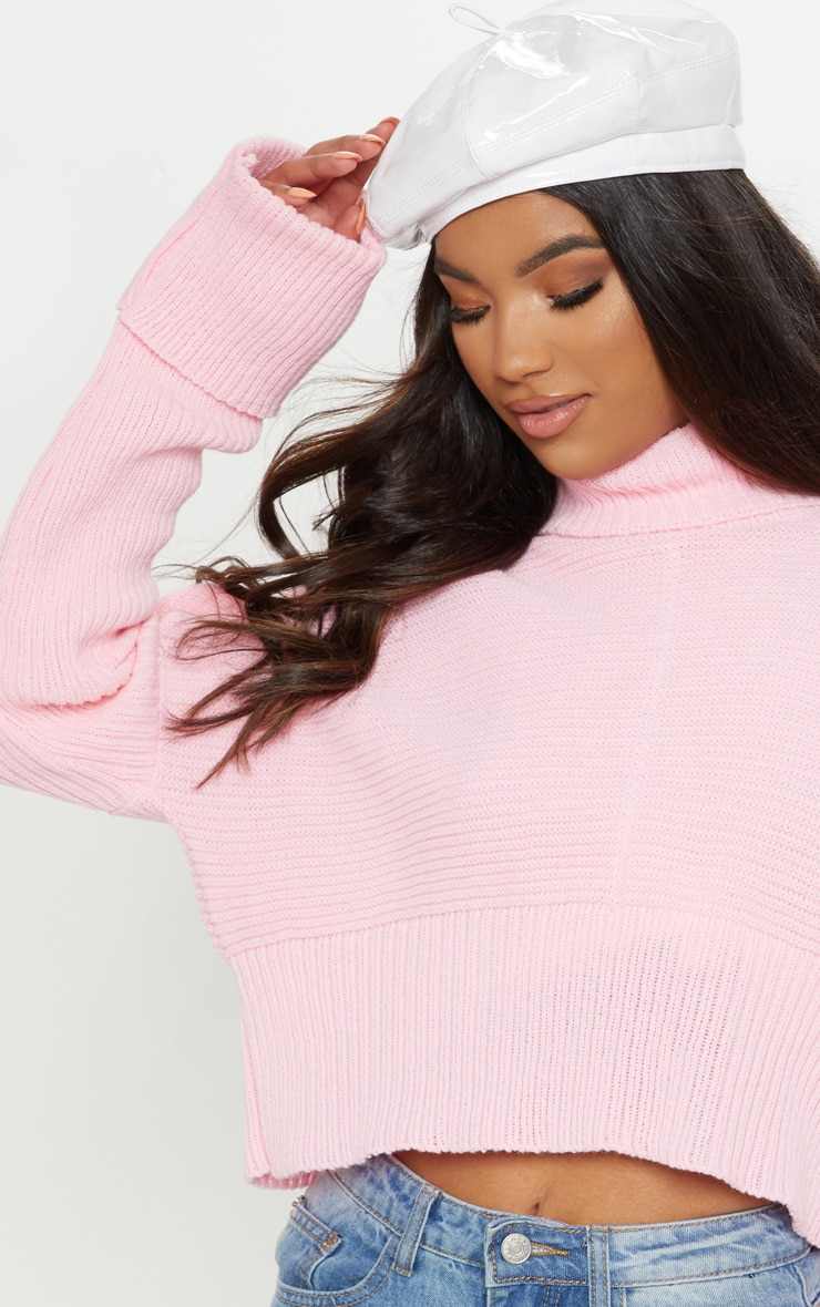 Pink Chunky Ribbed High Neck Knitted Jumper 5