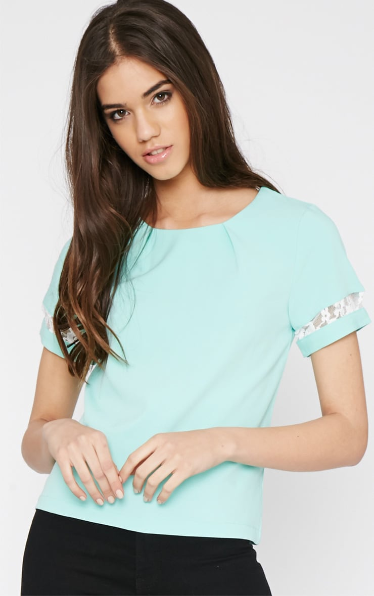 Angelina Mint Boxy Top with Lace Detail 1
