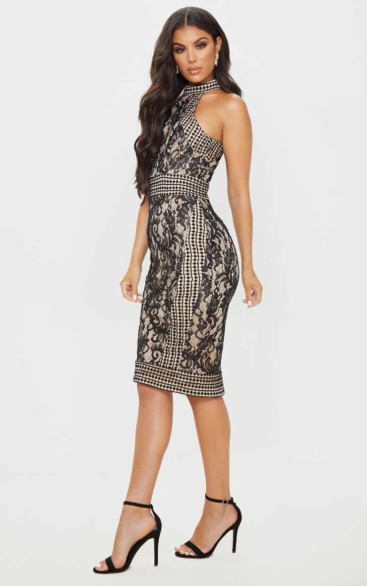 Black Lace Crochet High Neck Midi Dress 4