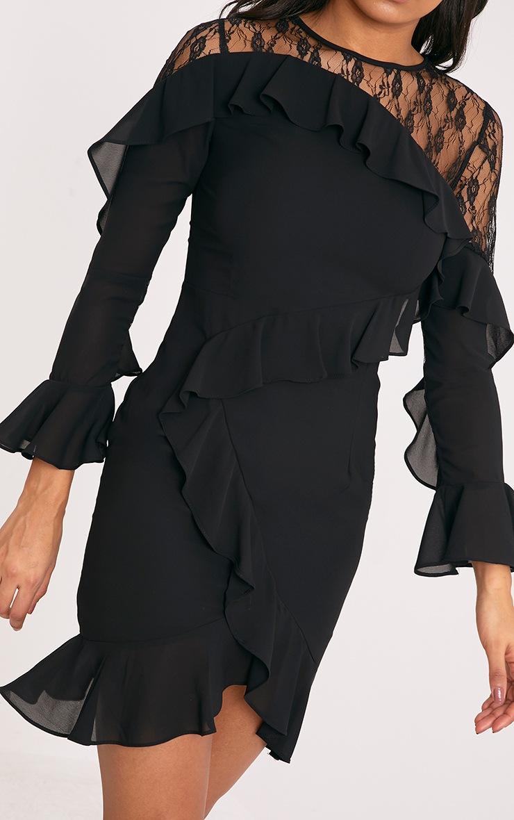 Mia Black Frill Detail Shift Dress 3