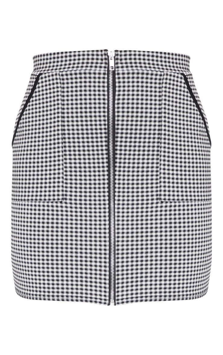 Black Gingham Zip Front Mini Skirt 3
