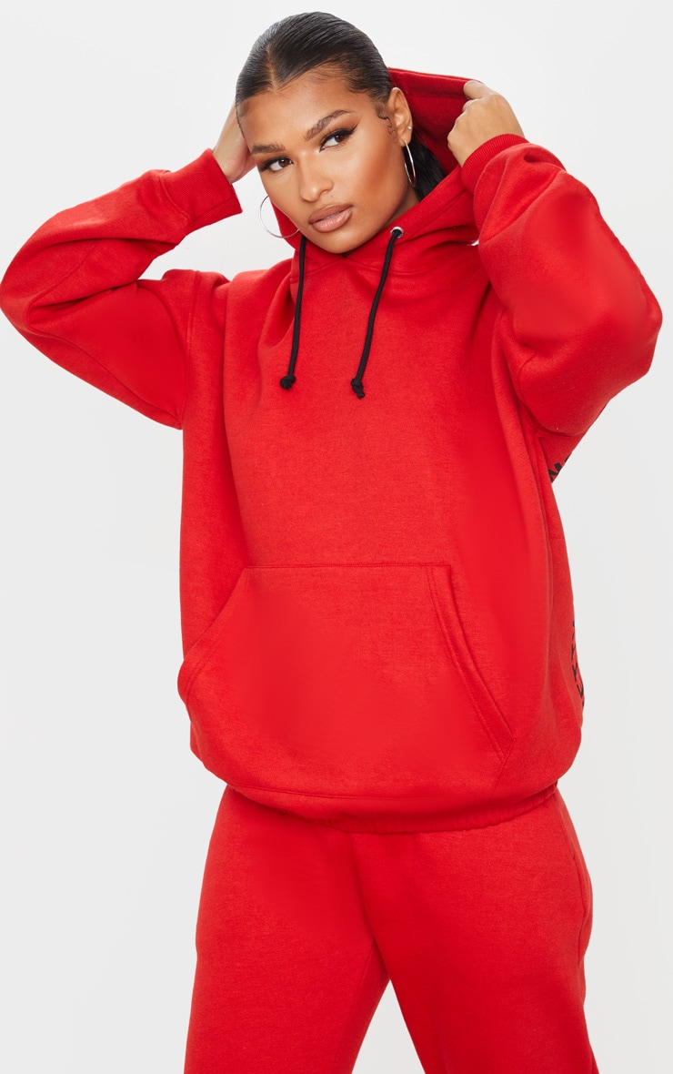 PRETTYLITTLETHING Red Oversized Slogan Back Pocket Front Hoodie 4