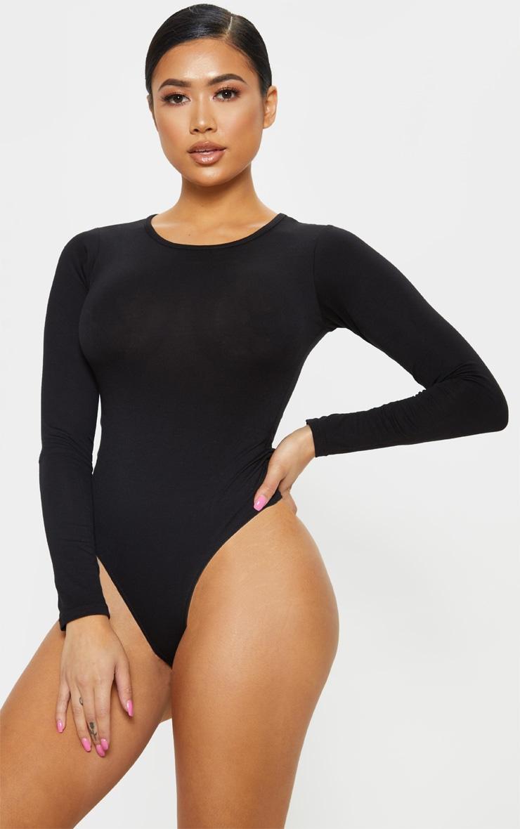Petite Black Crew Neck Long Sleeve Bodysuit 2