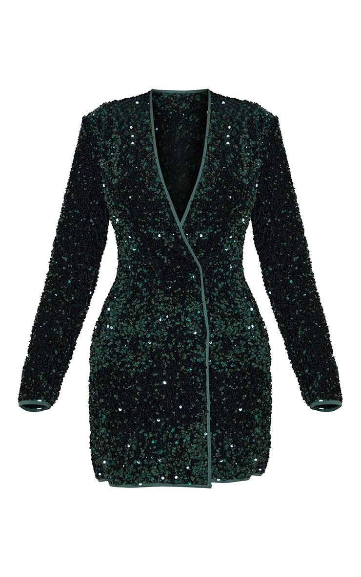 Emerald Green Premium Velvet Sequin Long Sleeve Blazer Dress 5