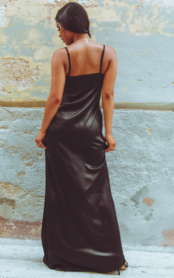 Black Satin V Neck Maxi Dress  2