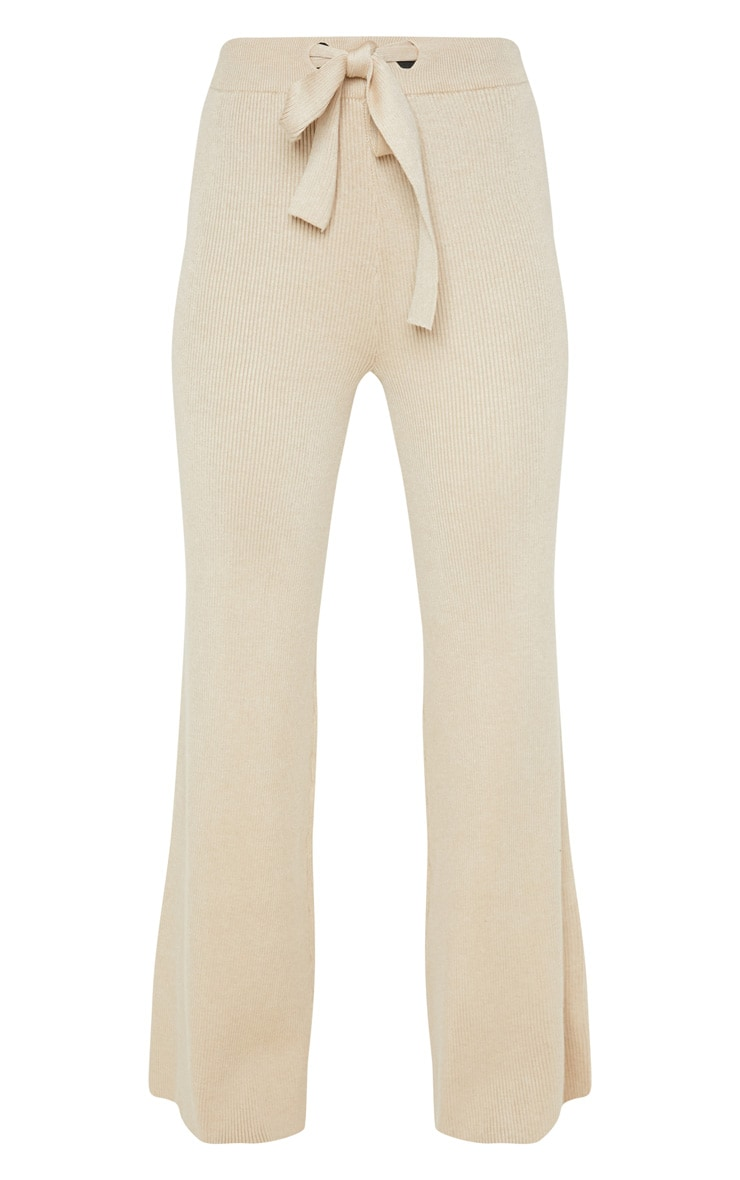 Ribbed Knitted Wide Leg Stone Trouser 3