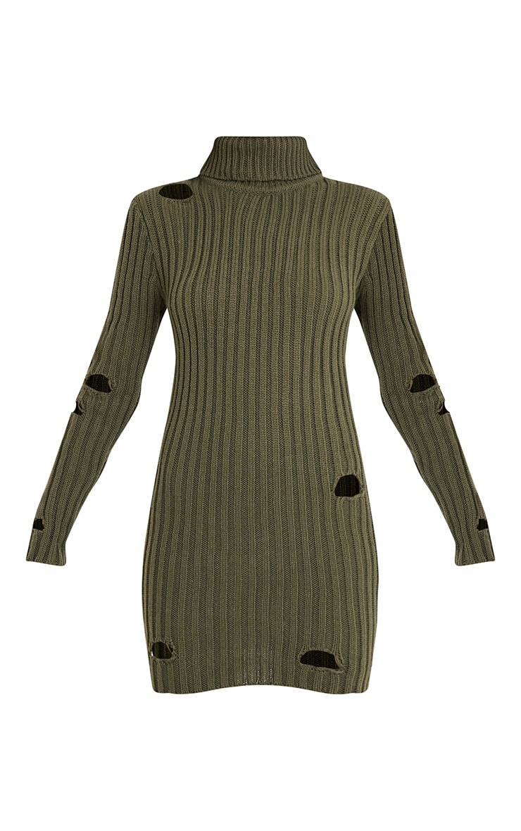 Roschan Khaki Distressed High Neck Knitted Mini Dress 3