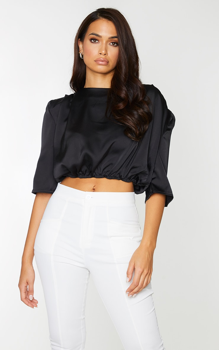 Black Satin Shoulder Pad Draped Sleeve Cropped Blouse 1