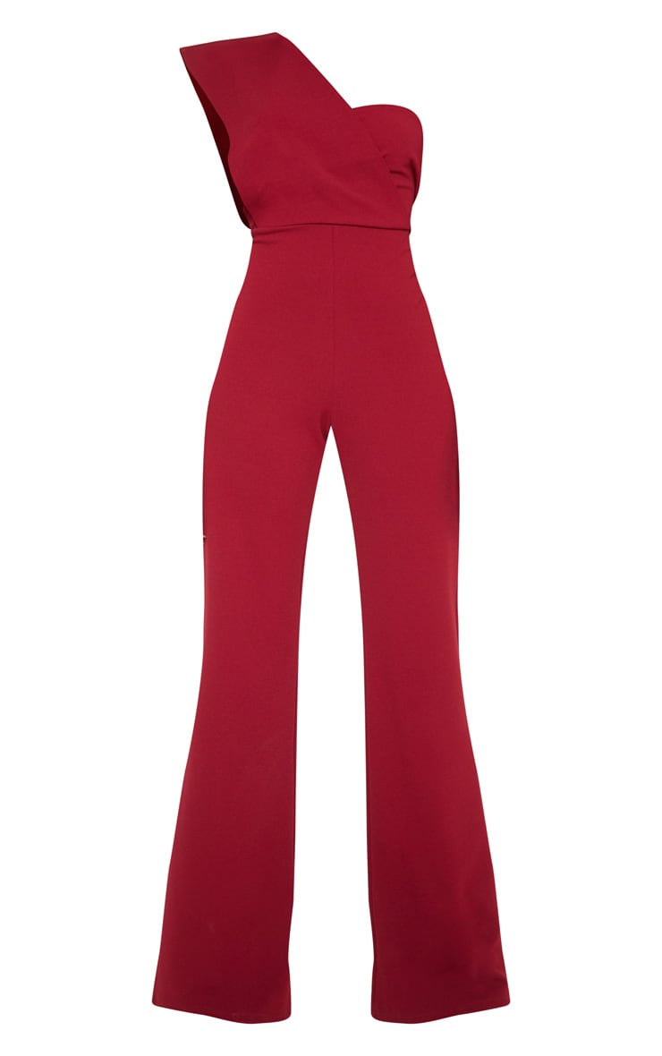 Burgundy Drape One Shoulder Jumpsuit 3