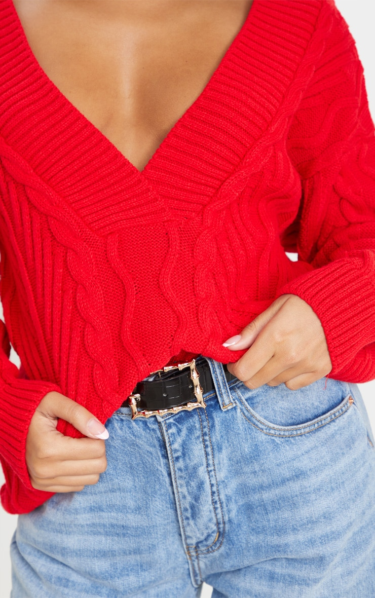 Red Deep V Oversized Cable Knit Jumper 6