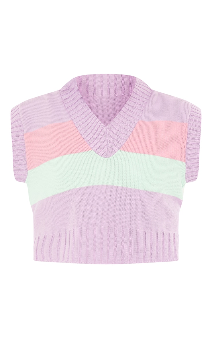 Tall Pastel Striped Cropped Vest 5