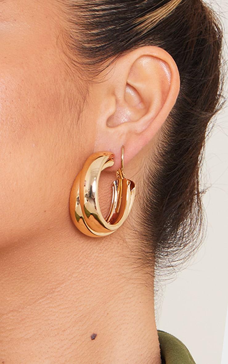 Gold Double Chunky Overlapped Hoop Earrings 1