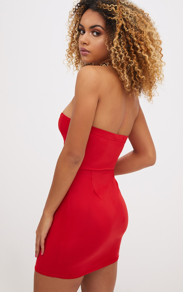 Red Faux Suede Bodycon Dress 2